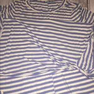 Annabelle Tops - Annabelle Blue and White Stripped High low Shirt